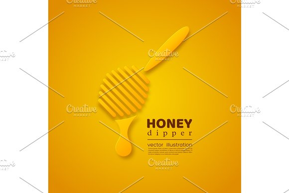 Paper Cut Style Honey Dipper Element For Beekeeping And Honey Product Design Yellow Background Vector Illustration