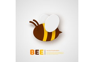 Paper cut style bee. Element for beekeeping and honey product design. White background, vector illustration.