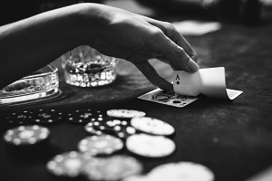 People playing poker and gambling