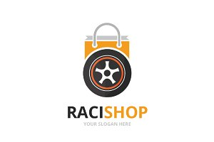 Vector wheel and shop logo