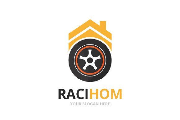 Vector Wheel And Real Estate Logo Combination Tire And House Symbol Or Icon Unique Tyre And Rent Logotype Design Template