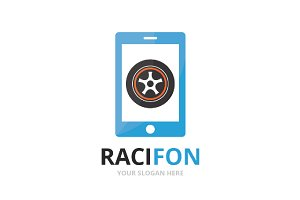 Vector wheel and phone logo