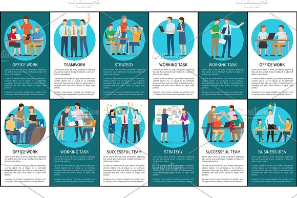 Teamwork And Strategy Set Vector Illustration