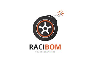 Vector wheel and bomb logo
