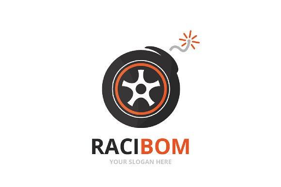 Vector Wheel And Bomb Logo Combination Tire And Detonate Symbol Or Icon Unique Tyre And Weapon Logotype Design Template