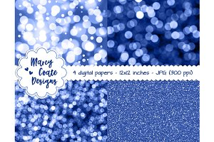 Blue Bokeh & Glitter Backgrounds