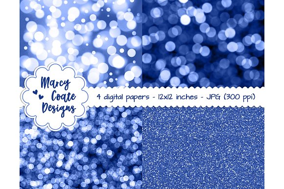 Blue Bokeh Glitter Backgrounds