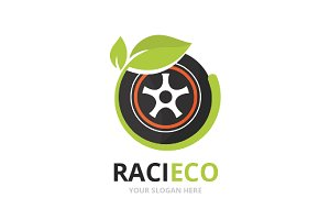 Vector wheel and leaf logo