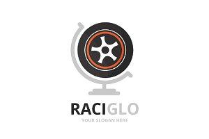 Vector wheel and globe logo