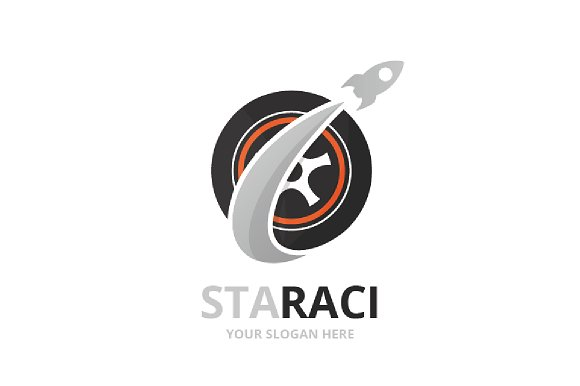 Vector Wheel And Rocket Logo Combination Tire And Airplane Symbol Or Icon Unique Car And Flight Logotype Design Template
