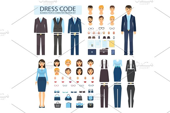 Dress Code For Business People Characters Set