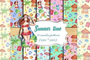 Summer Time Seamless patterns