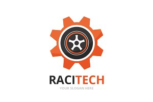 Vector wheel and gear logo