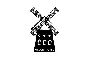 Moulin rouge vector black on white