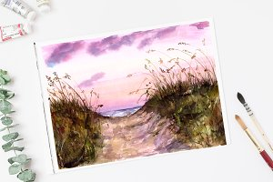 A Path to the Beach Watercolor Print