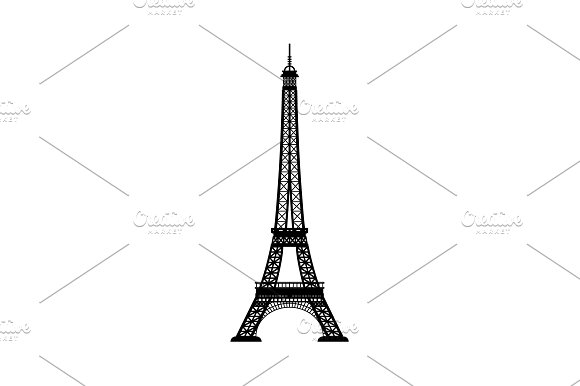 Eiffel Tower Vector Black On White