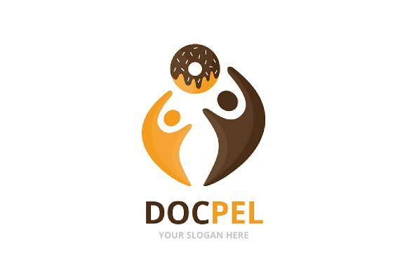 Vector Donut And People Logo Combination Doughnut And Family Symbol Or Icon Unique Bakery And Union Help Connect Team Logotype Design Template