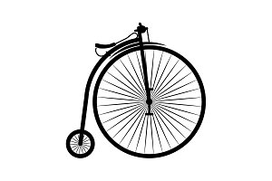 Penny-farthing vector icon black