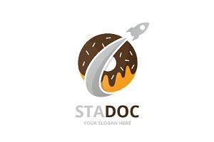 Vector donut and rocket logo