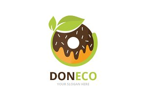 Vector donut and leaf logo