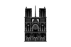Notre Dame Cathedral black on white