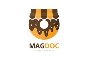 Vector donut and shop logo