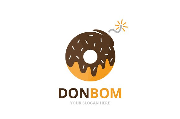 Vector Donut And Bomb Logo Combination Doughnut And Detonate Symbol Or Icon Unique Bakery And Weapon Logotype Design Template