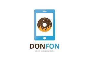 Vector donut and phone logo