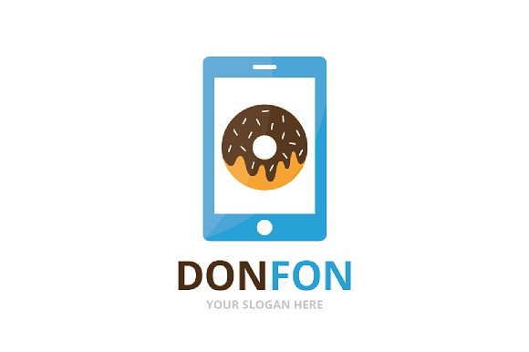 Vector Donut And Phone Logo Combination Doughnut And Mobile Symbol Or Icon Unique Bakery And Device Logotype Design Template