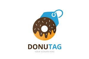 Vector donut and tag logo