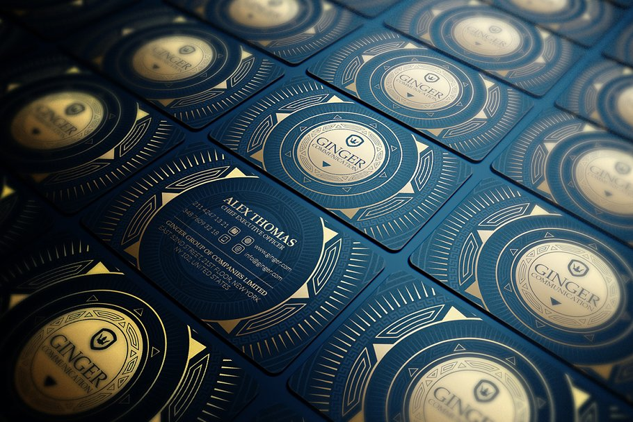 50 Golden Business Cards Bundle in Business Card Templates