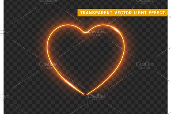 Neon Light Yellow Heart With Transparent Background