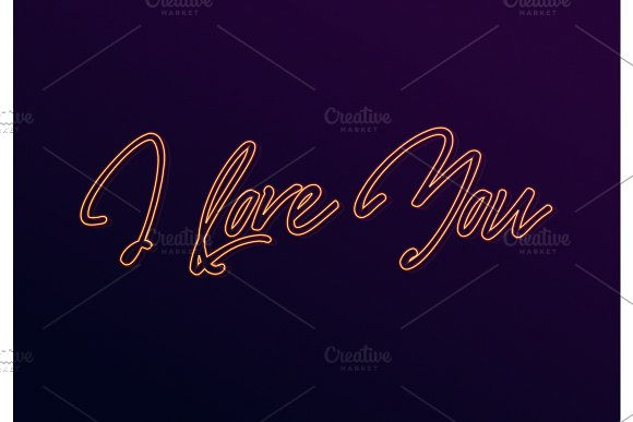 I Love You Neon Text Design