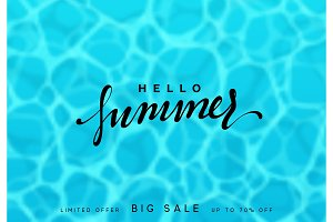Summer background, blue sea and handwritten calligraphy lettering, Hello Summer