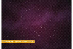 Space stars background. Light night sky vector transparent effect