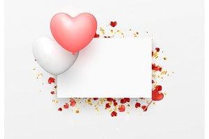 Balloon Hearts design white frame. Happy Valentines Day