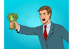 Shouting man and money pop art vector illustration