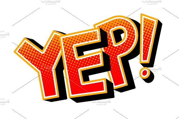 Yep Word Comic Book Pop Art Vector Illustration