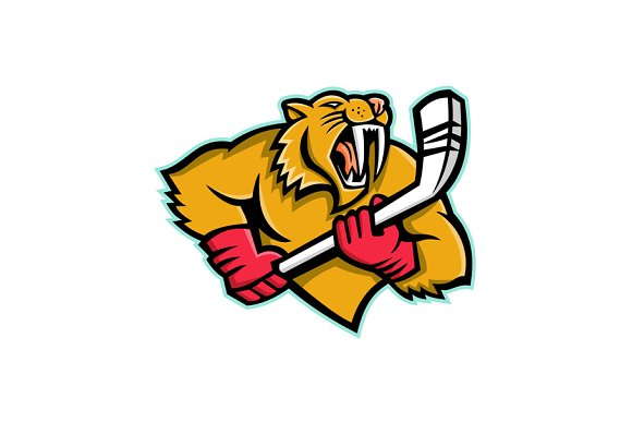Saber Toothed Cat Ice Hockey Mascot