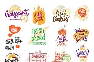 Hand Drawn Bakery Logotypes Set