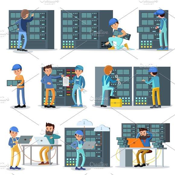 Data Center Working People Set