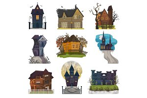 Spooky house vector haunted castle with dark scary horror nightmare on halloween moonlight mystery illustration nightly set of creepy building isolated on white background