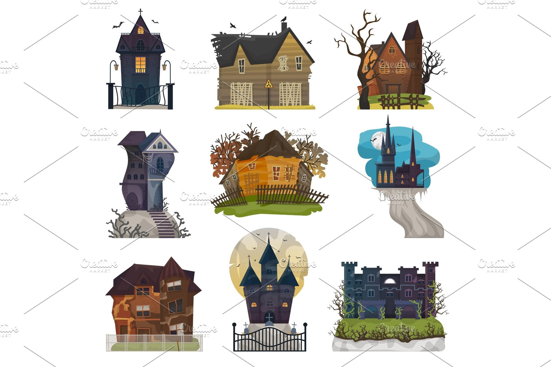 Halloween Spooky House.Spooky House Vector Haunted Castle With Dark Scary Horror Nightmare On Halloween Moonlight Mystery Illustration Nightly Set Of Creepy Building