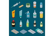 Pharmacy vector medicine drugs or pills in container or mockup bottle illustration medication or pharmaceutics set of medical treatment or healthcare isolated on background