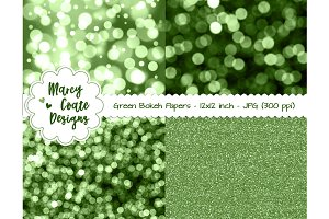 Green Bokeh & Glitter Backgrounds