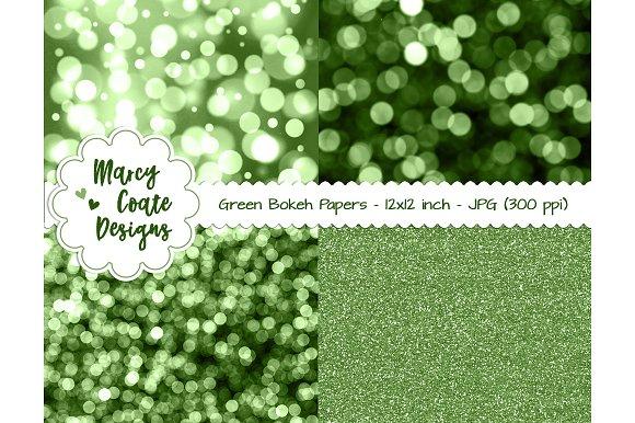 Green Bokeh Glitter Backgrounds