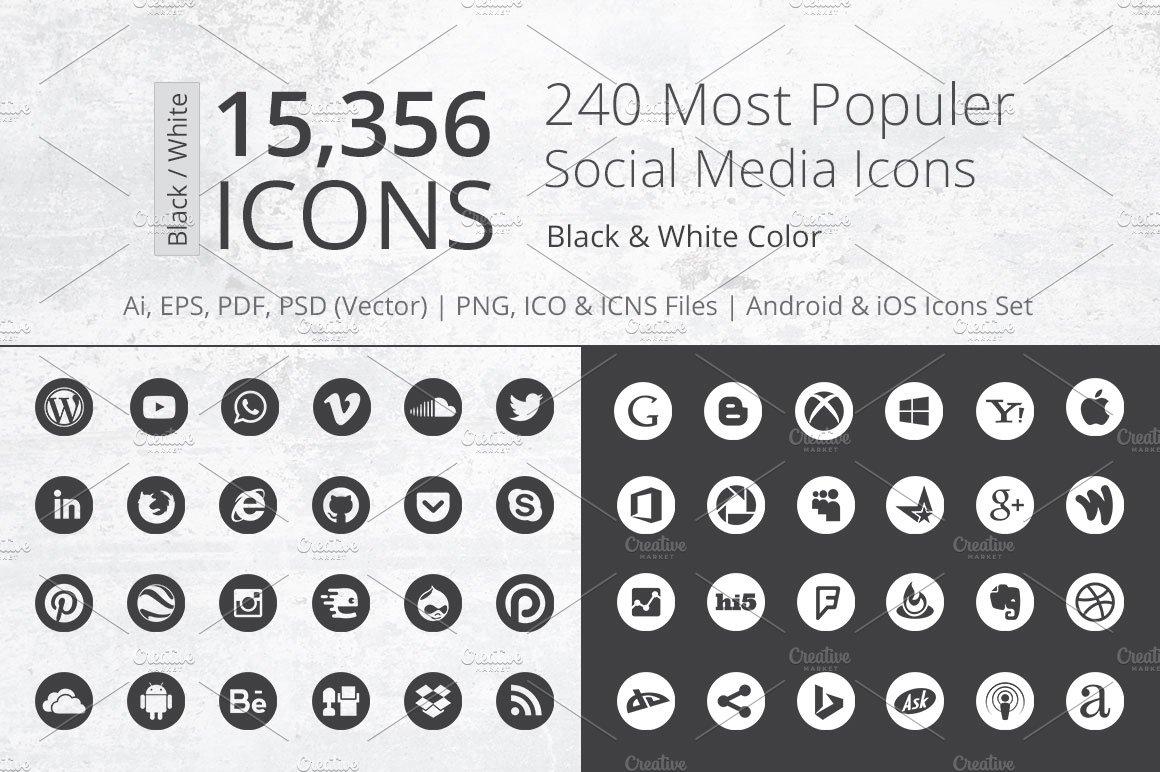 500+ Flat Social Media Icons Pack ~ Icons ~ Creative Market