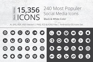 240 Round B/W Social Media Icons