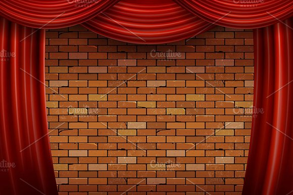 Red Curtains On Brick Wall