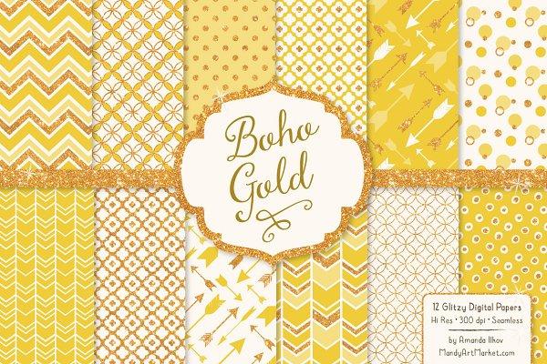 Sunshine Yellow Glitter Patterns